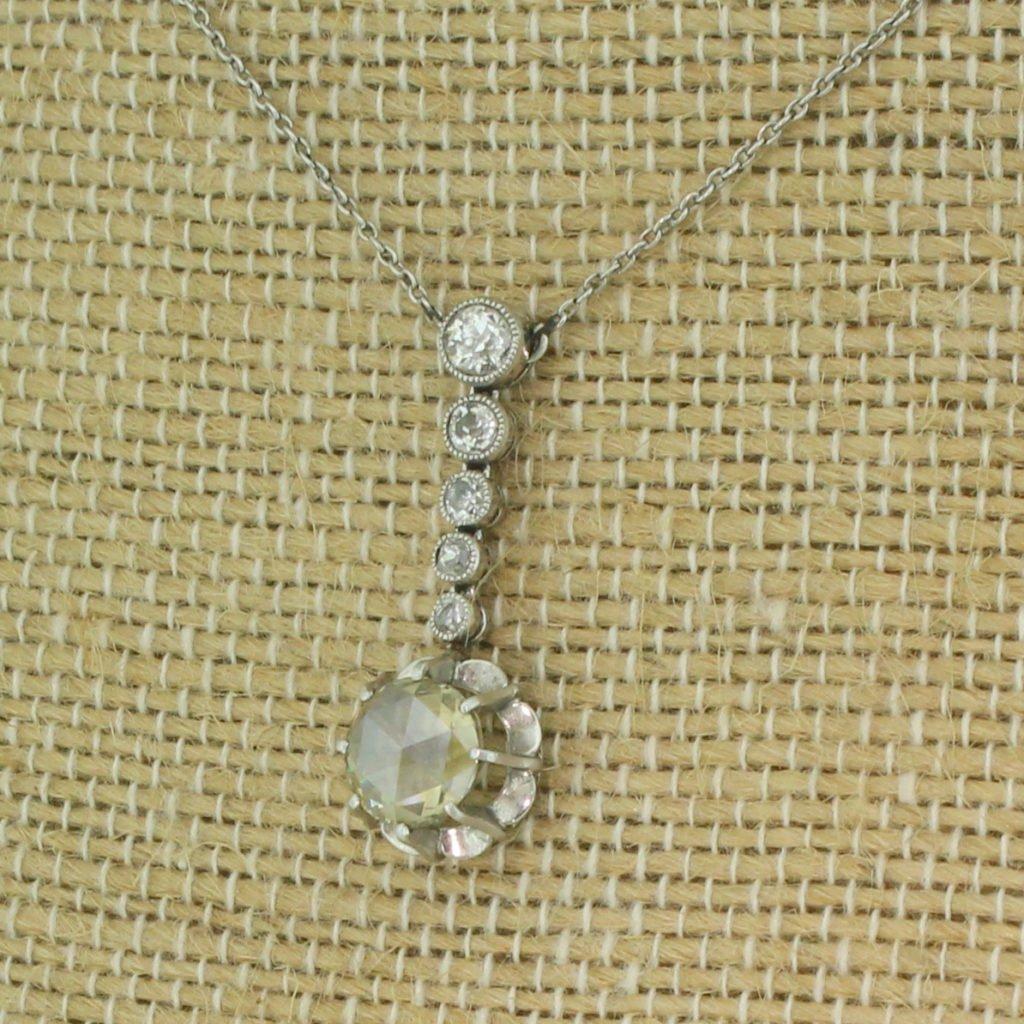mid century 163 carat rose cut 038 old cut diamond drop necklace circa 1950