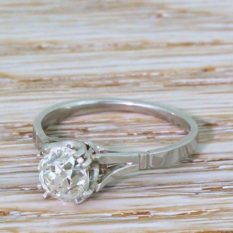 art deco 130 carat old cut diamond engagement ring circa 1930