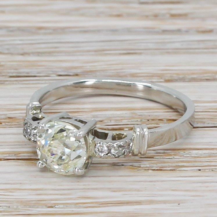art deco 124 carat old cut diamond engagement ring circa 1920