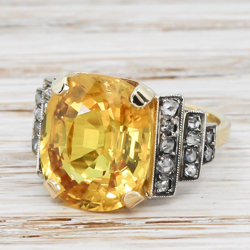 art deco 976 carat yellow sapphire 038 diamond ring circa 1935