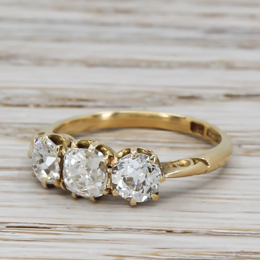 victorian 200 carat old cut diamond trilogy ring circa 1900