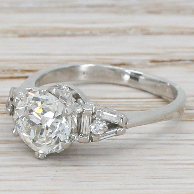 mid century 188 carat old cut diamond engagement ring circa 1950
