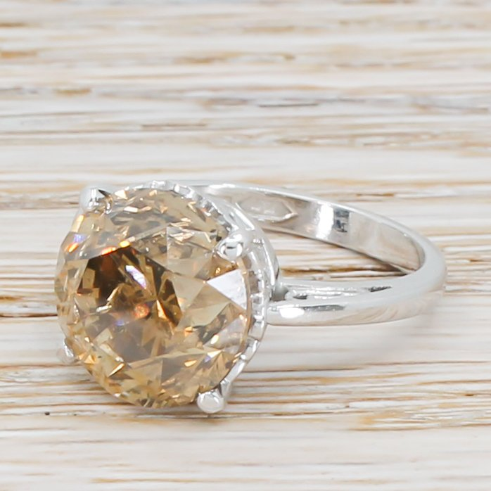 721 carat natural fancy brown old cut diamond solitaire ring platinum