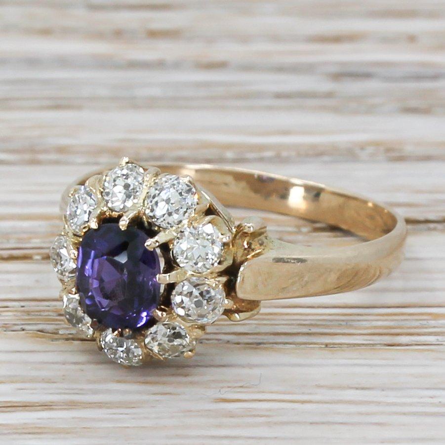 edwardian 081 carat purple sapphire 038 old cut diamond cluster ring circa 1910