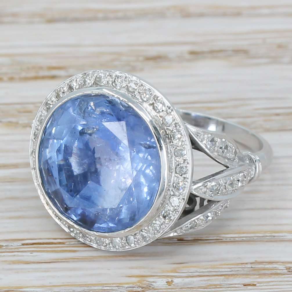 retro 1502 carat natural ceylon sapphire ring circa 1950