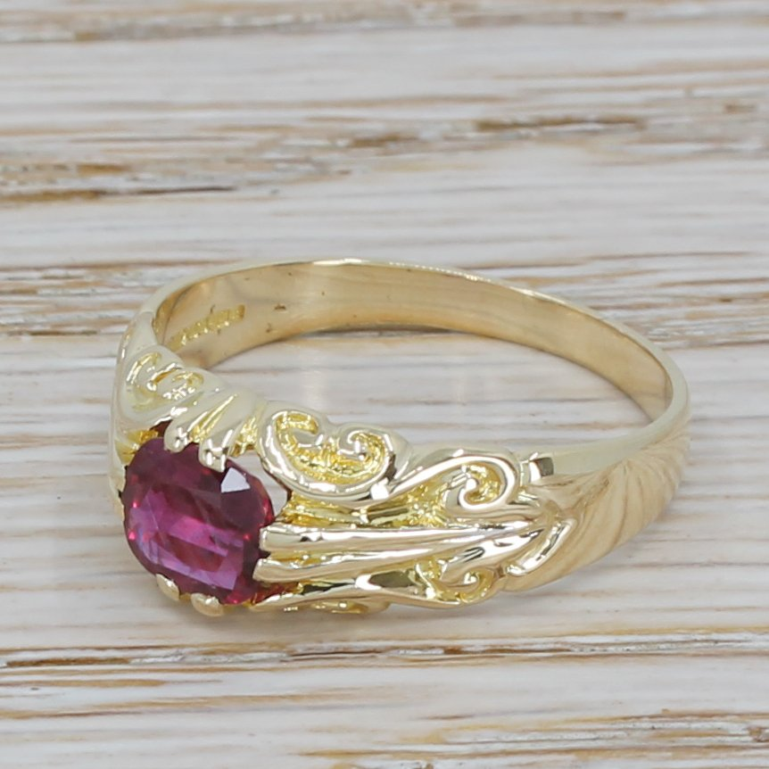 late 20th century 140 carat ruby solitaire ring dated 1985