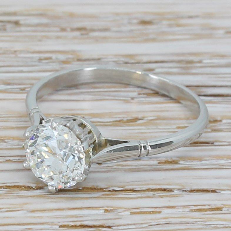 art deco 130 carat old cut diamond engagement ring circa 1920 platinum