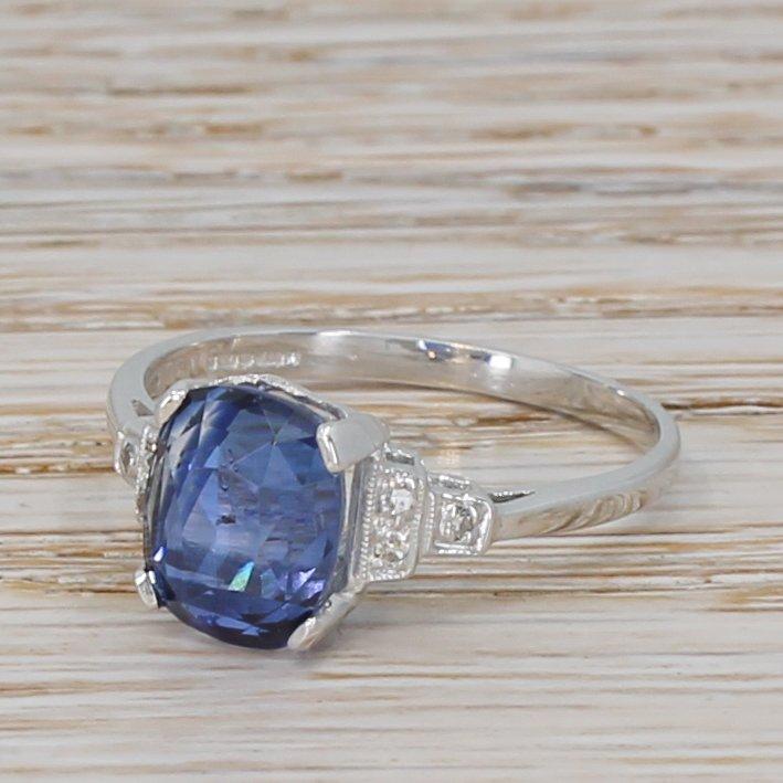 art deco 372 carat natural ceylon sapphire solitaire ring circa 1940