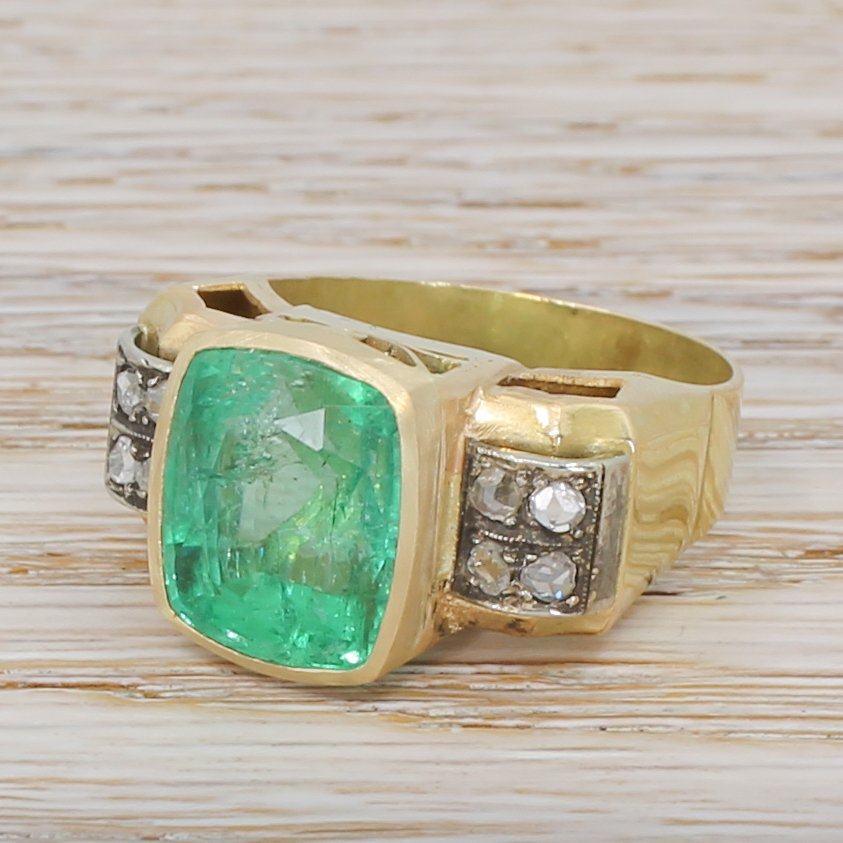 mid century 874 carat minor oil emerald ring circa 1960