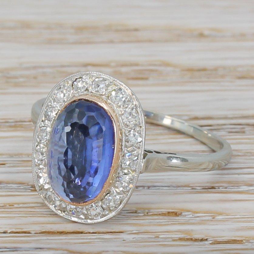 mid century 365 carat natural ceylon sapphire 038 diamond ring circa 1950