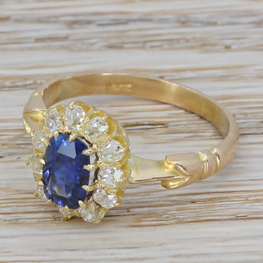 victorian 175 carat natural ceylon sapphire 038 old cut diamond ring circa 1900
