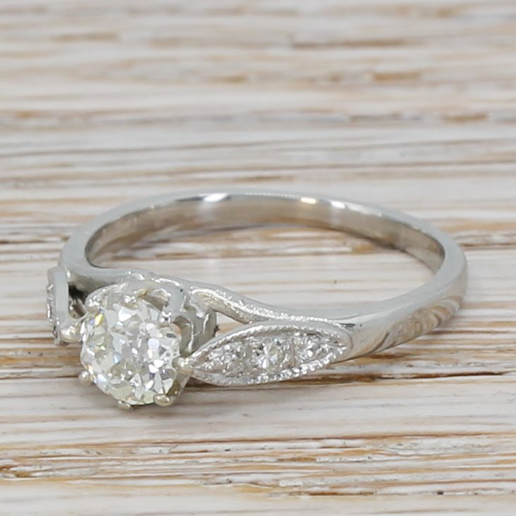 art deco 047 carat old cut diamond engagement ring circa 1930