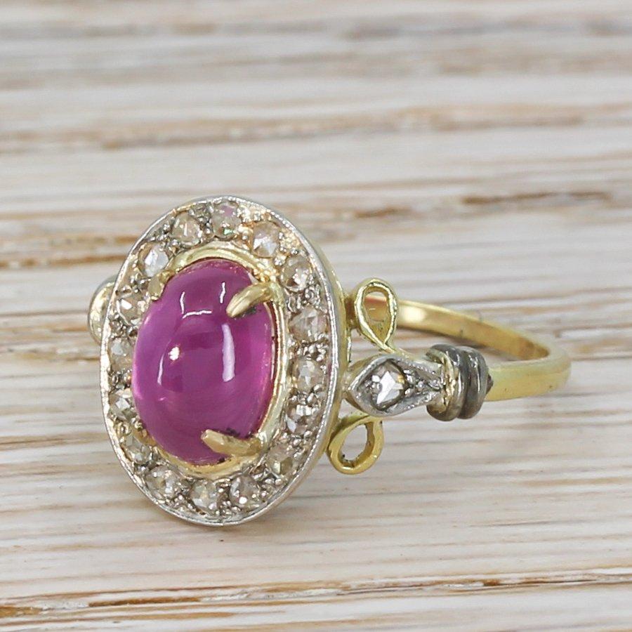 edwardian 317 carat cabochon ruby 038 rose cut diamond ring circa 1910