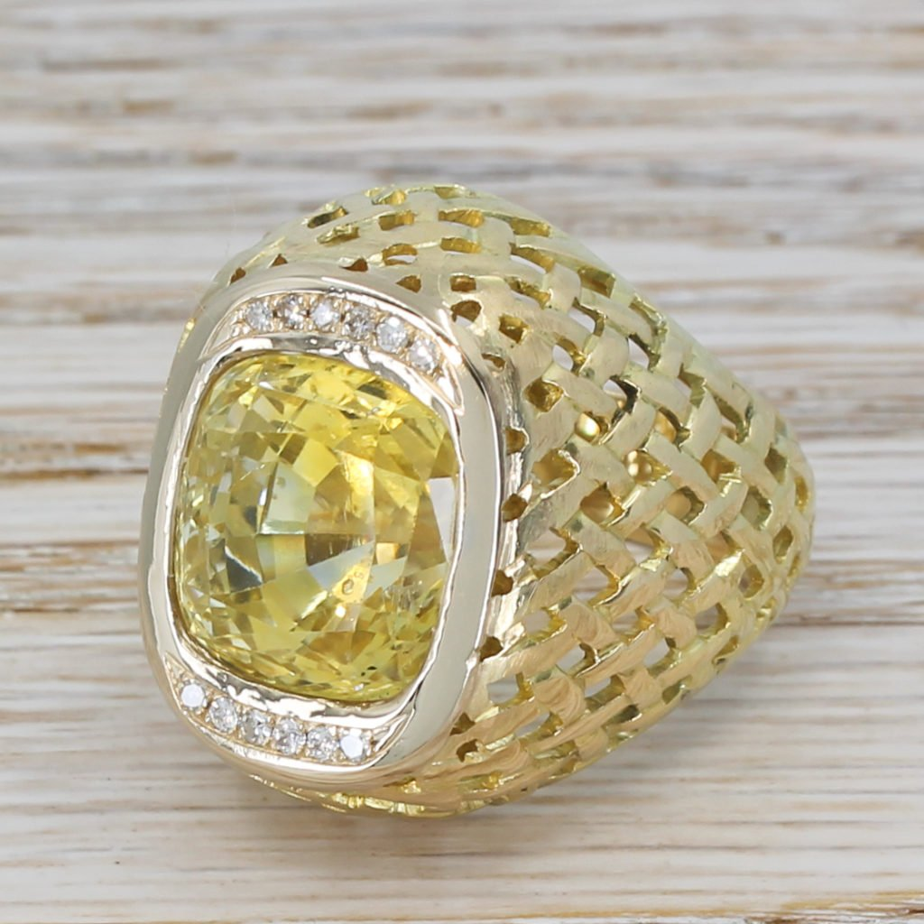 retro 1520 carat natural ceylon yellow sapphire ring circa 1960