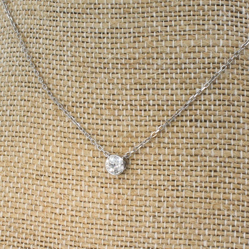 043 carat old cut diamond solitaire pendant necklace 18k white gold