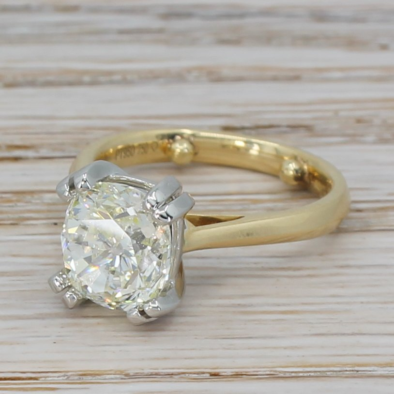 313 carat old cushion cut diamond solitaire ring 18k gold 038 platinum
