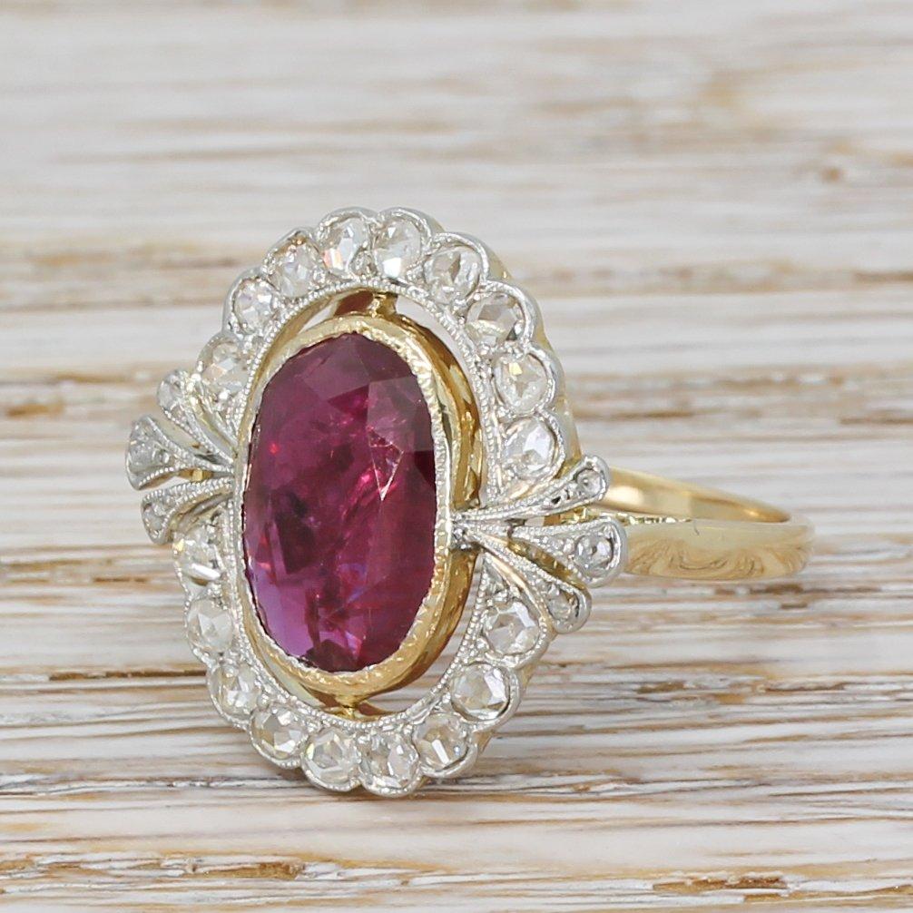mid century 287 carat ruby 038 rose cut diamond cluster ring circa 1950