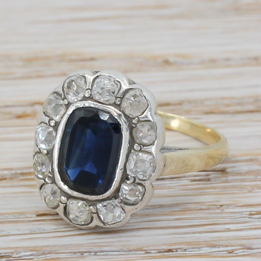 victorian 150 carat sapphire 038 old cut diamond cluster ring circa 1860