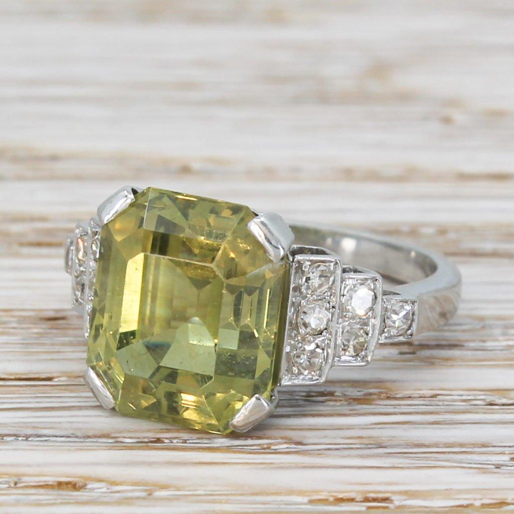 mid century 902 carat natural chrysoberyl solitaire ring circa 1950
