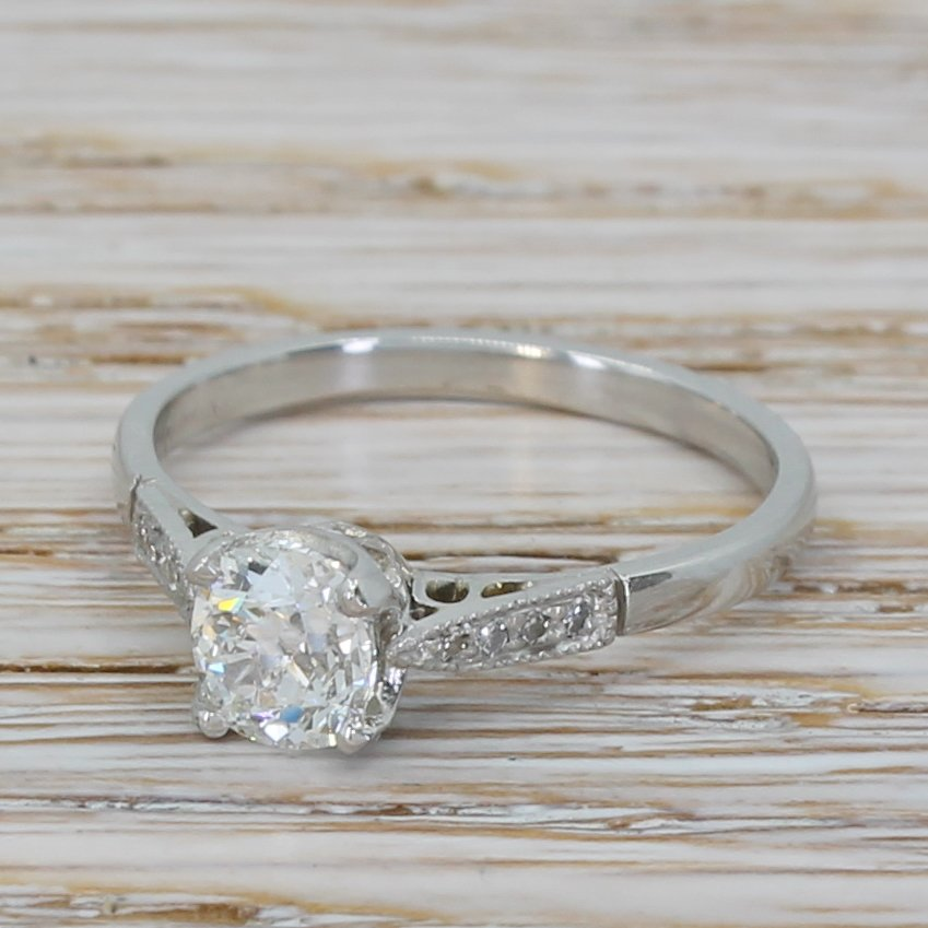 art deco 072 carat old cut diamond engagement ring circa 1920