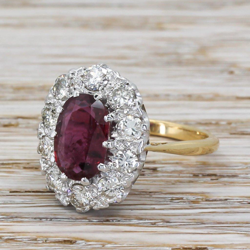mid century 256 carat ruby 038 110 carat diamond cluster ring circa 1965