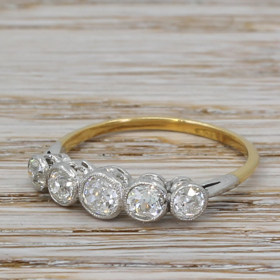 art deco 110 carat old cut diamond five stone ring circa 1940