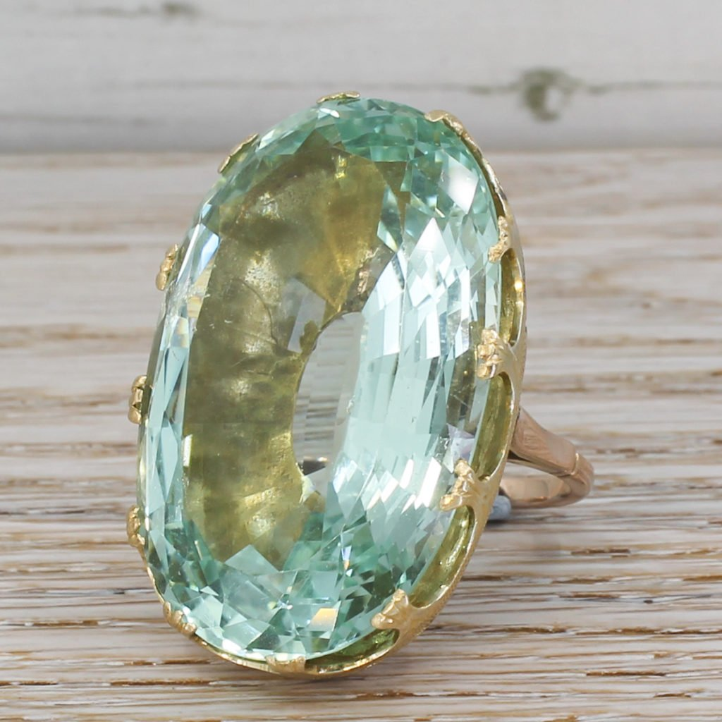 retro 8693 carat aquamarine solitaire ring circa 1950