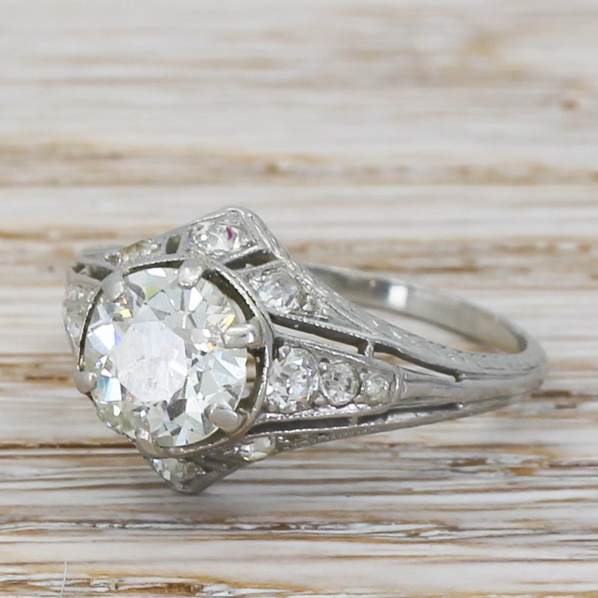 edwardian 157 carat old cut diamond engagement ring circa 1910