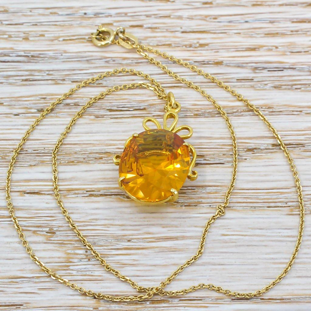 mid century 1300 carat synthetic yellow sapphire pendant circa 1960