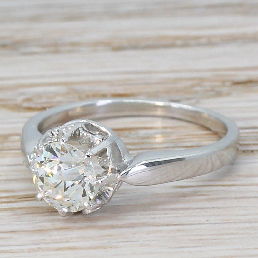 mid century 091 carat old cut diamond engagement ring circa 1950