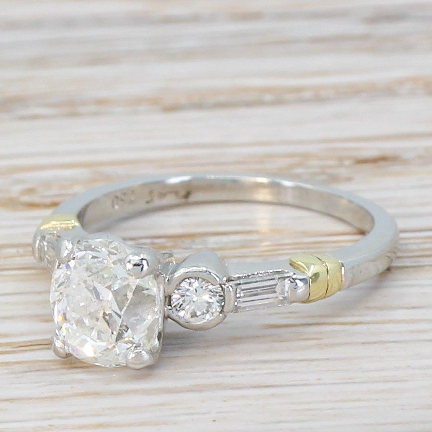 art deco 155 carat old cut diamond engagement ring circa 1940