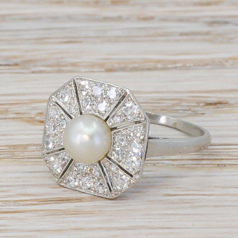 edwardian natural pearl 038 diamond ring circa 1910