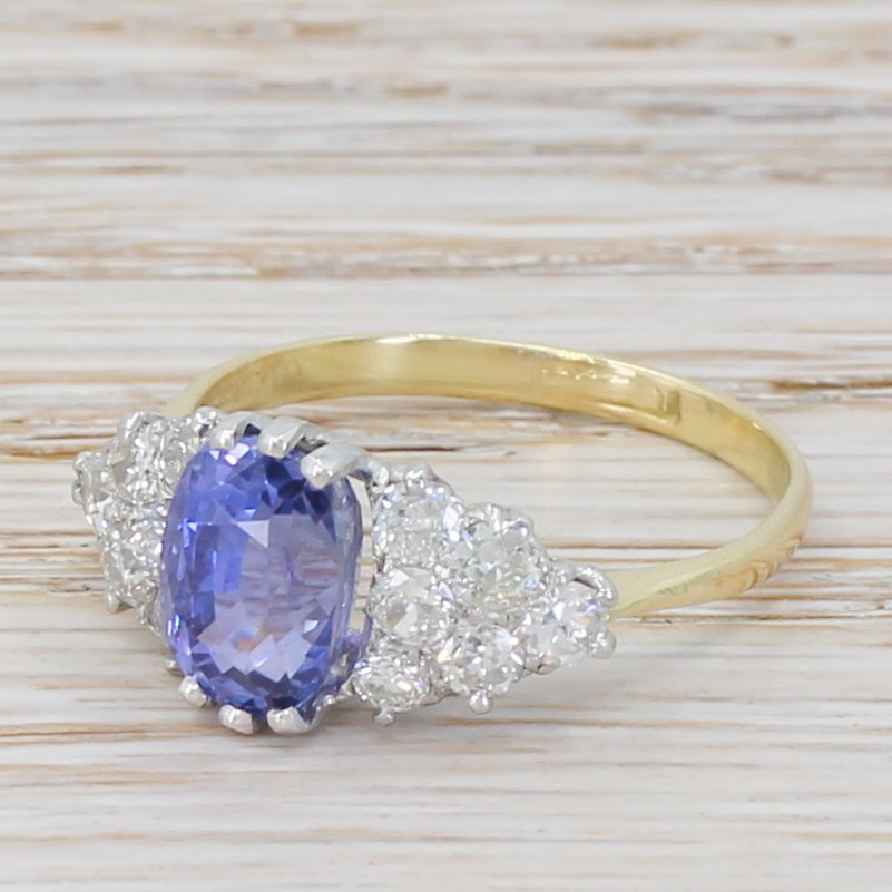 mid century 292 carat natural ceylon colour change sapphire 038 diamond ring circa 1945