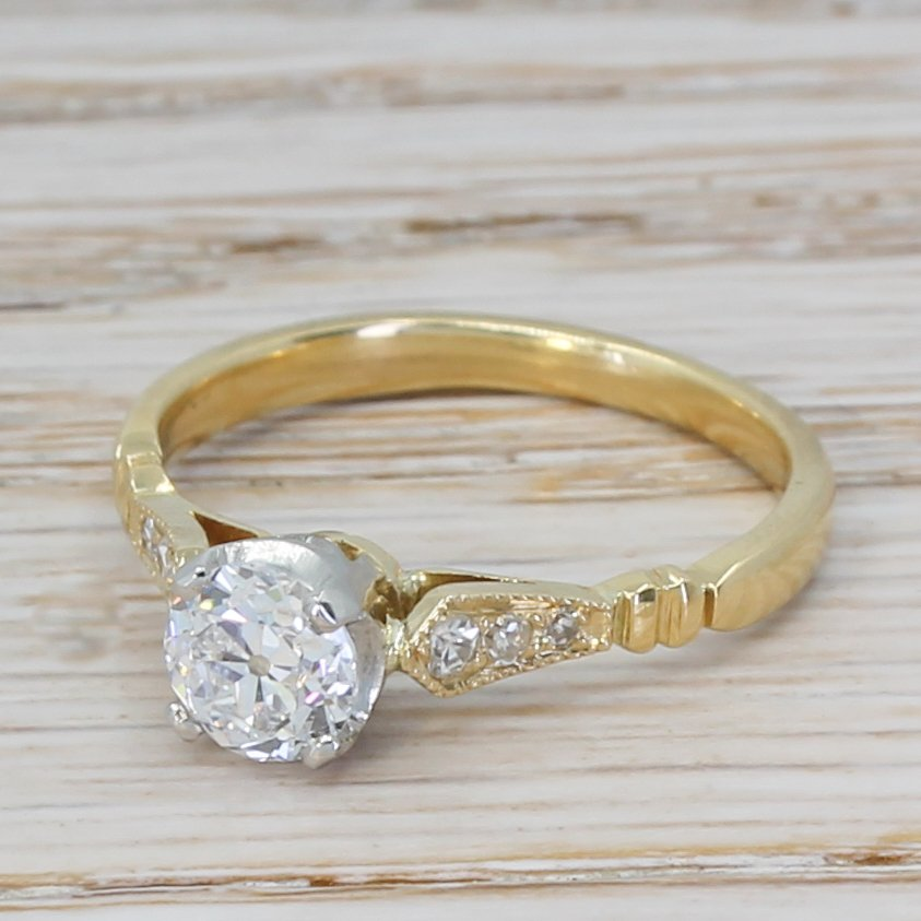 art deco 072 carat old european cut diamond engagement ring circa 1915