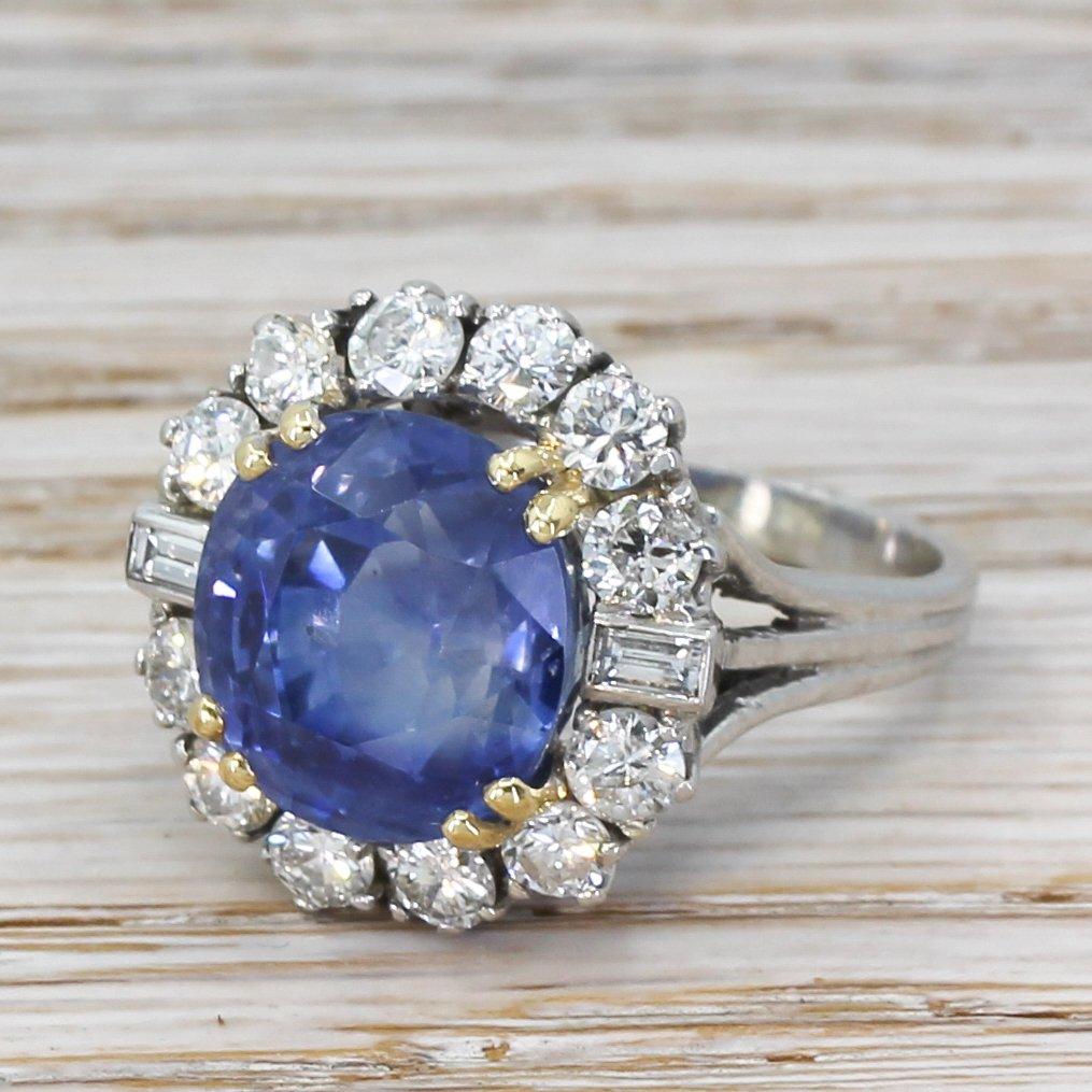 mid century 1087 carat natural ceylon sapphire 038 diamond cluster ring circa 1965
