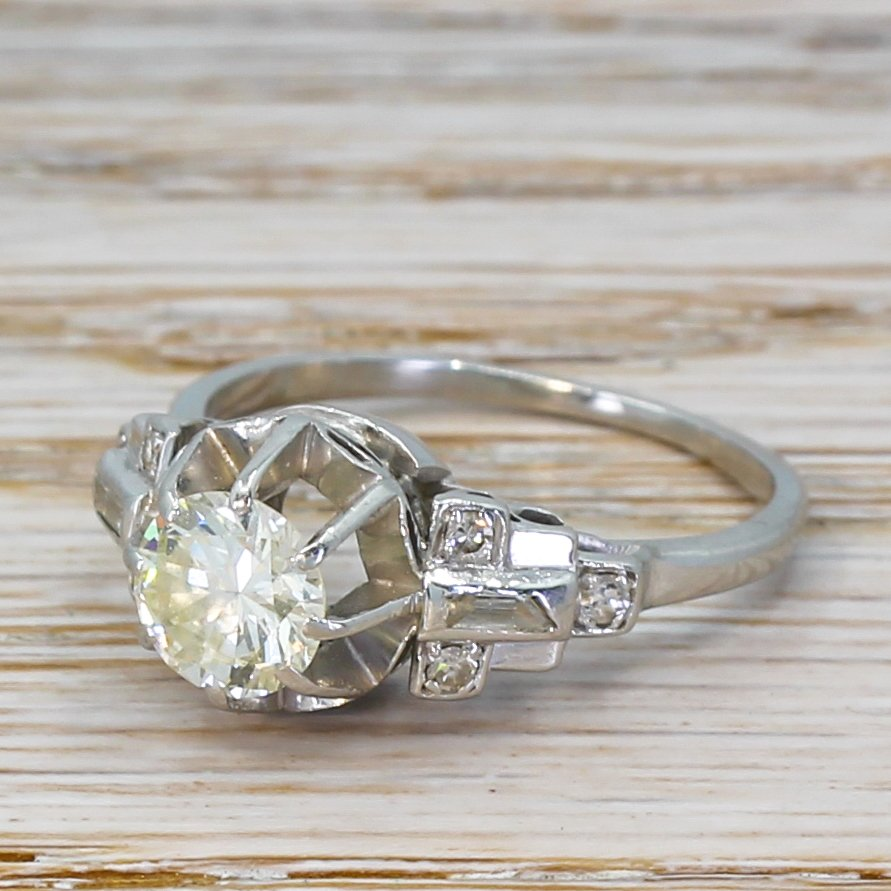 art deco 080 carat old cut diamond engagement ring circa 1935