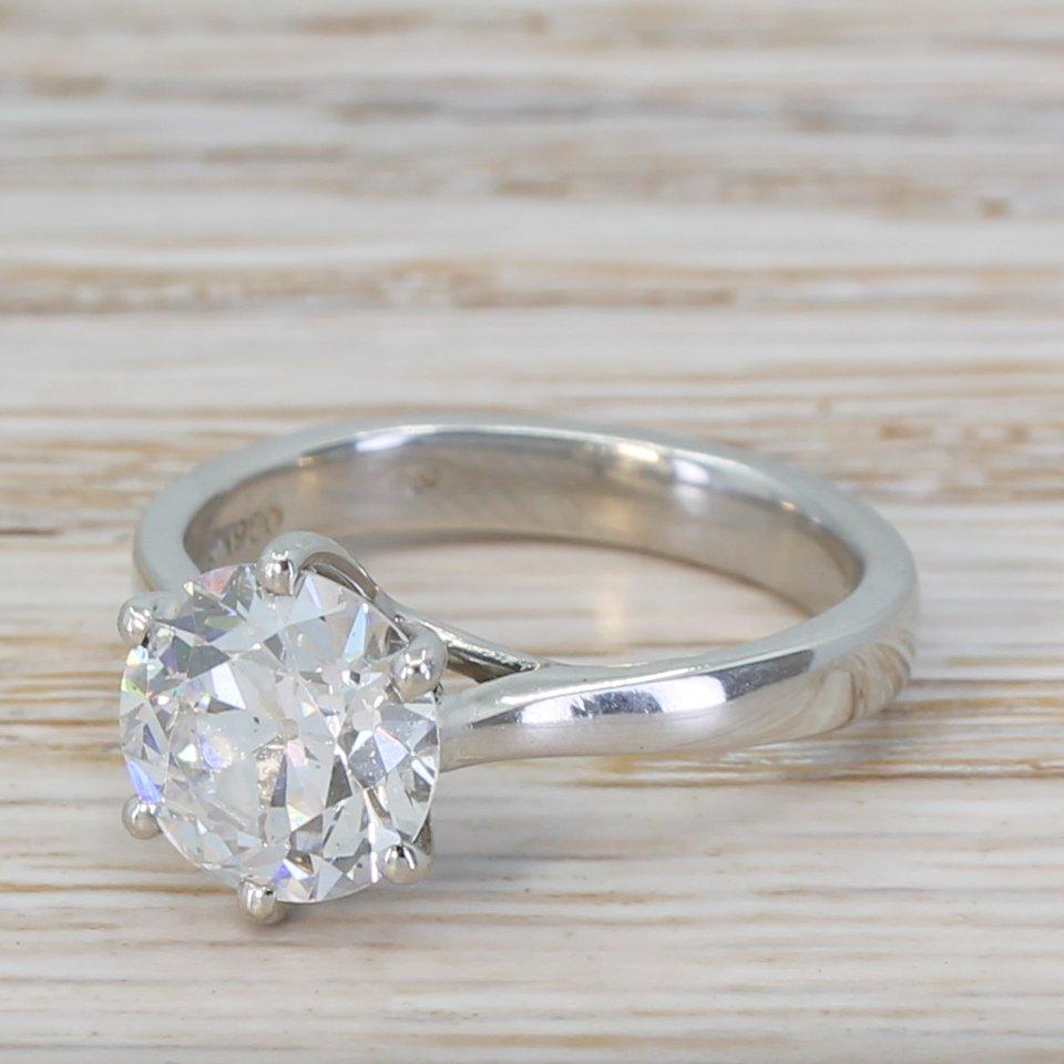 185 carat old european cut diamond engagement ring platinum
