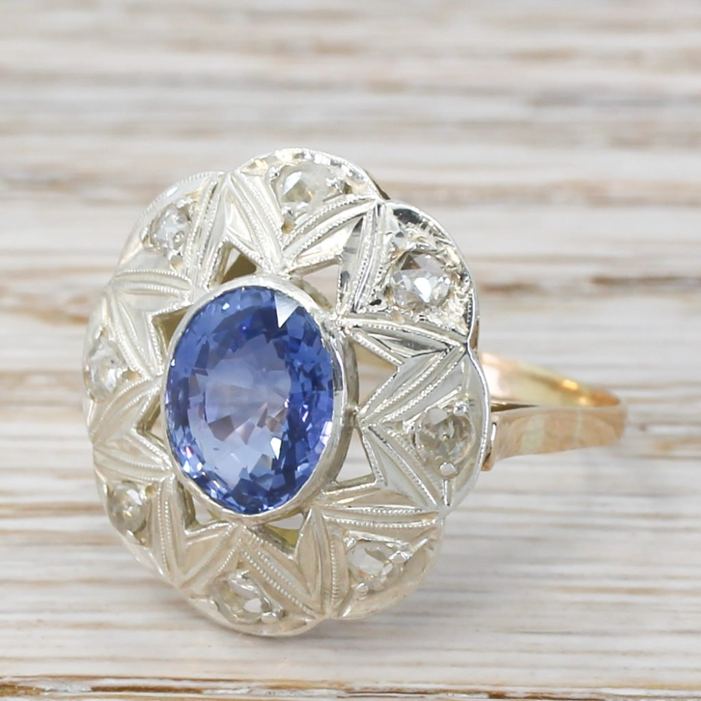 mid century 300 carat sapphire 038 rose cut diamond ring circa 1945