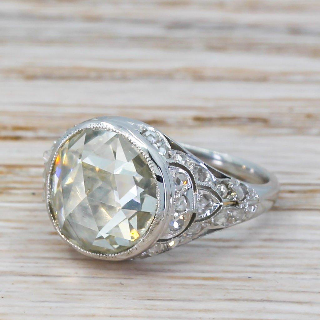 art deco 314 carat rose cut diamond solitaire ring circa 1940