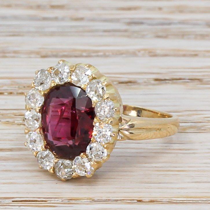 mid century 230 carat ruby 038 105 carat diamond cluster ring circa 1950
