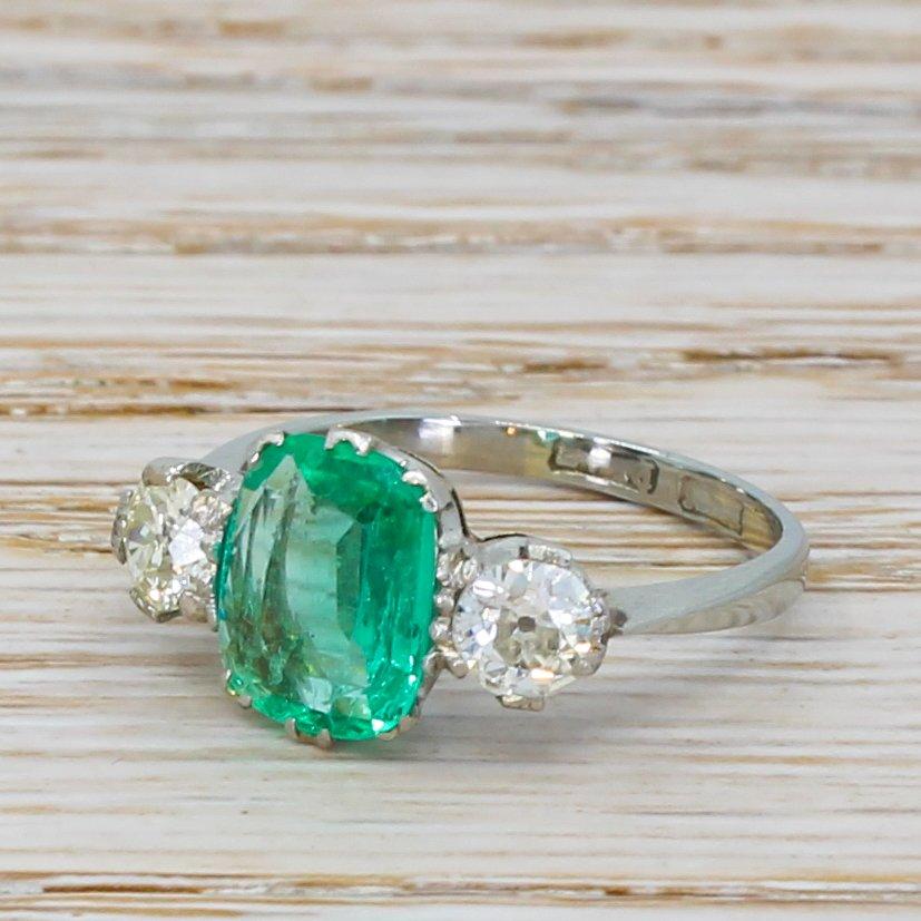 art deco 105 carat emerald 038 053 carat old cut diamond trilogy ring circa 1925