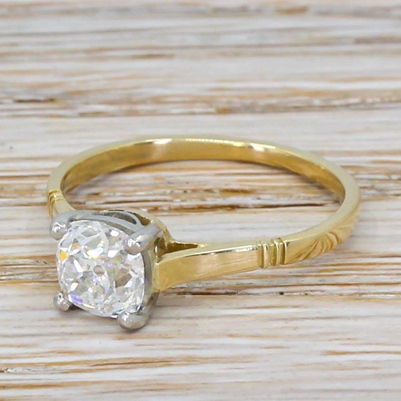 art deco 105 carat old cut diamond engagement ring circa 1920