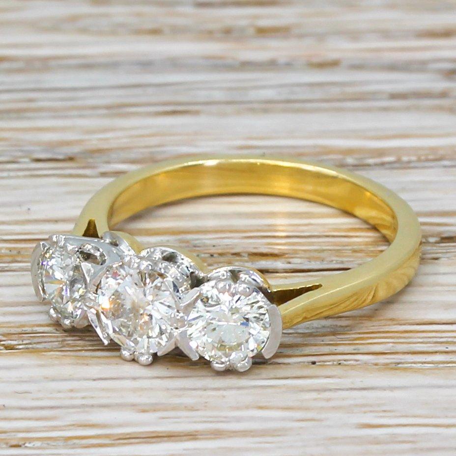 modern 120 carat round brilliant cut diamond engagement ring 18k gold