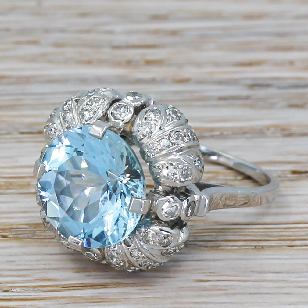 late 20th century 555 carat aquamarine 038 diamond ring circa 1970