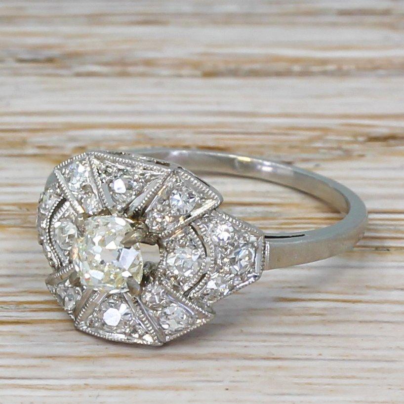 art deco 092 carat old cut diamond cluster ring circa 1925