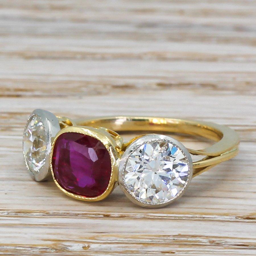 art deco 146 carat burmese ruby 038 213 carat old cut diamond ring circa 1930
