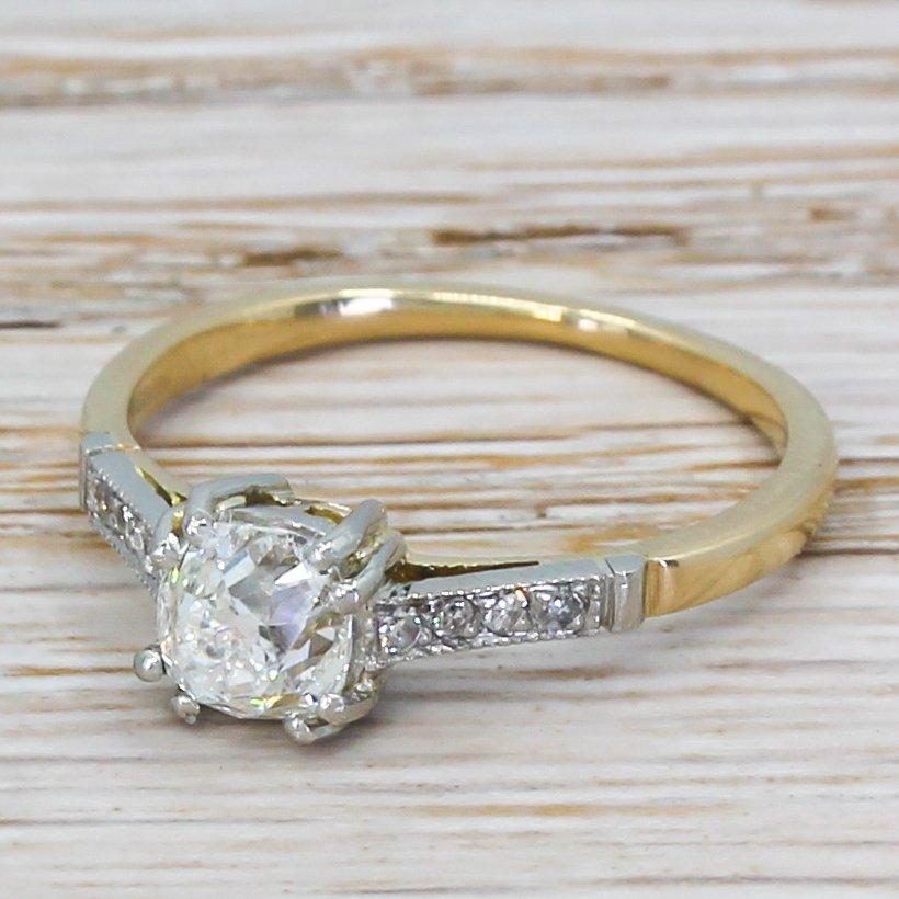 art deco 090 carat old cut diamond engagement ring circa 1915