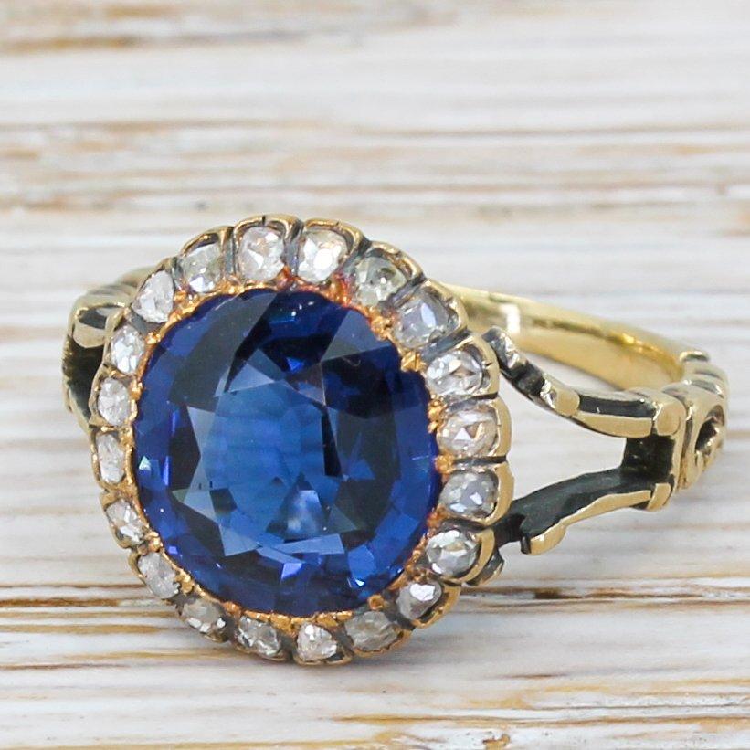 victorian 340 carat sapphire 038 rose cut diamond cluster ring circa 1890