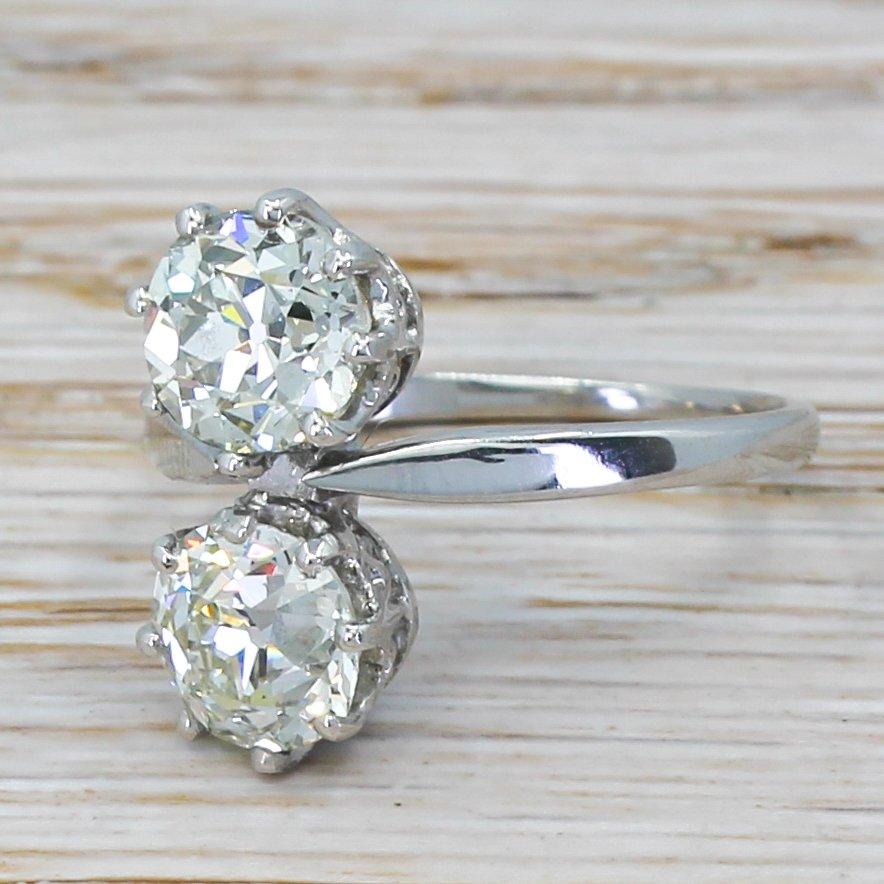 art deco 255 carat old cut diamond toi et moi ring circa 1920