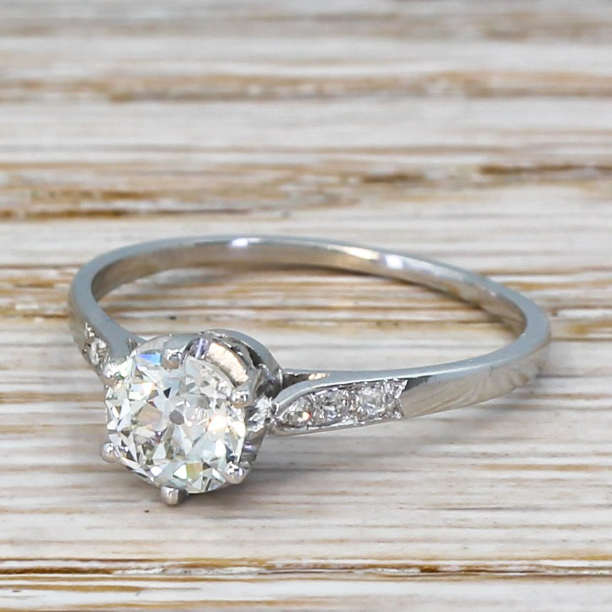 art deco 083 carat old cut diamond engagement ring circa 1930